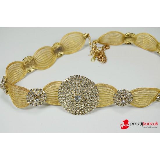 Altın Rengi Taşlı Kemer