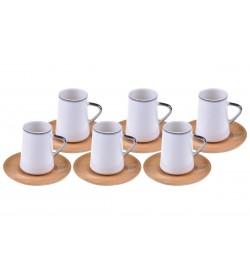Cappu Çay Fincan Takımı Gümüş Yaldızlı 6 Kişilik