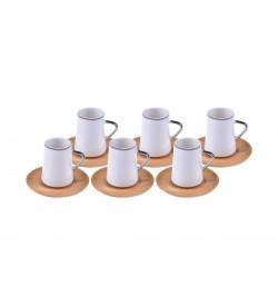 Cappu Kahve Fincan Takımı Gümüş Yaldızlı 6 Kişilik