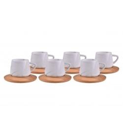 Ebru Kahve Fincan Takımı Yeşil 6 Kişilik