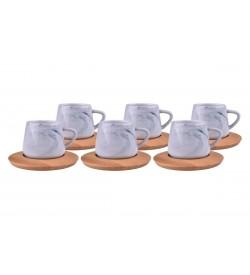 Ebru Kahve Fincan Takımı Mavi 6 Kişilik