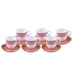 Kallavi Kahve Fincan Takımı Kırmızı 6 Kişilik