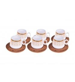 Ottoman Kahve Fincan Takımı Desen Altlıklı 6 Kişilik