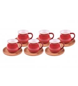 Selam Kahve Fincan Takımı Kırmızı 6 Kişilik
