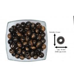 Ahşap Boncuk Koyu Kahve 18 mm 1 Kg