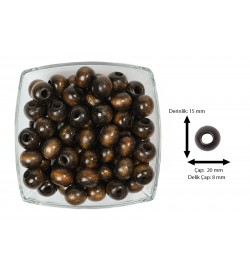 Ahşap Boncuk Koyu Kahve 1 Kg 20 mm