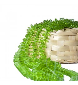 Açık Yeşil Yassı Cam Boncuk Dizisi 10 mm