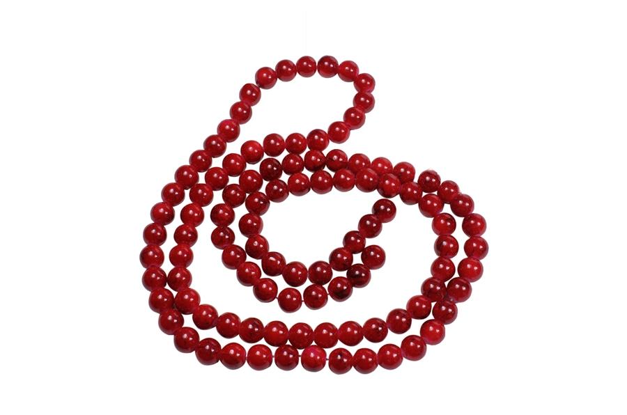 Kırmızı Desenli Cam Boncuk Dizisi