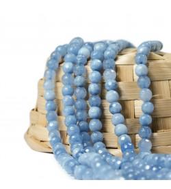 Fasetli Turkuaz Mavi Ceyt Doğal Taş Boncuk 8 mm