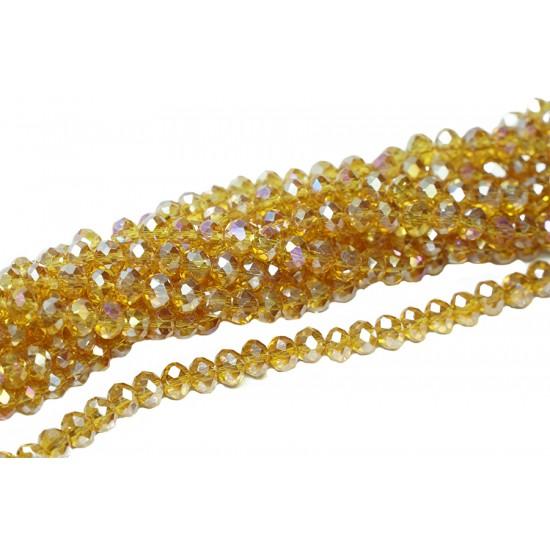 Koyu Altın Sarı Kristal Boncuk 6 mm