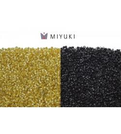 Miyuki Delica 11-0 Altın Sarısı ve Parlak Siyah Boncuk Seti