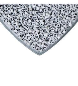 Beyaz Üzeri Siyah Yassı Harf Boncuk 500 gr