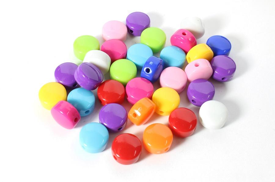 Renkli Yuvarlak Plastik Boncuk