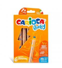 Carioca Jumbo Bebek Ahşap Gövdeli Boya Kalemi 6 Renk Kalemtraş 3in1