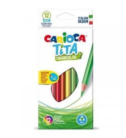 Carioca Tita Üçgen Kuru Boya Kalemi 12 Renk