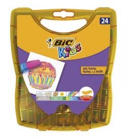 Bic Kids Yağlı Pastel Boya Sert Plastik Kutu 24 Renk