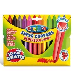 Carioca Plastello Jumbo Üçgen Yıkanabilir Pastel Boya Kalemi 12'li Uzun Boy