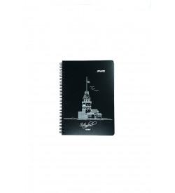 Kız Kulesi Desenli Mat Siyah Defter 14x20 cm