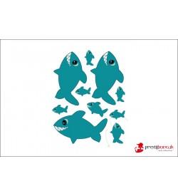 Köpek Balığı Baskılı Keçe