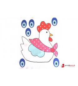 Tavuk Baskılı Keçe - 2