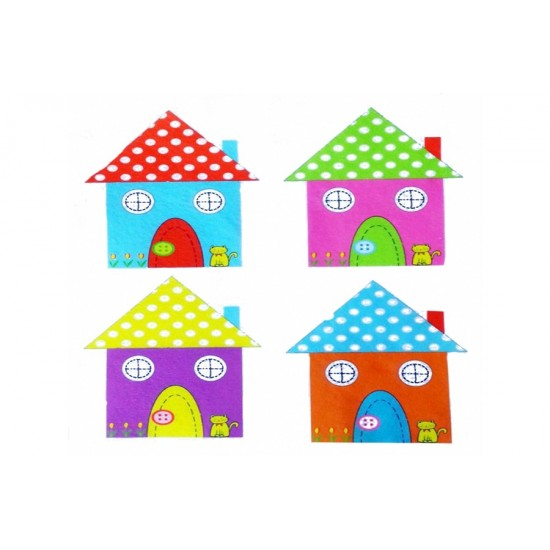 Renkli Ev Baskılı Süet Dokulu Kumaş