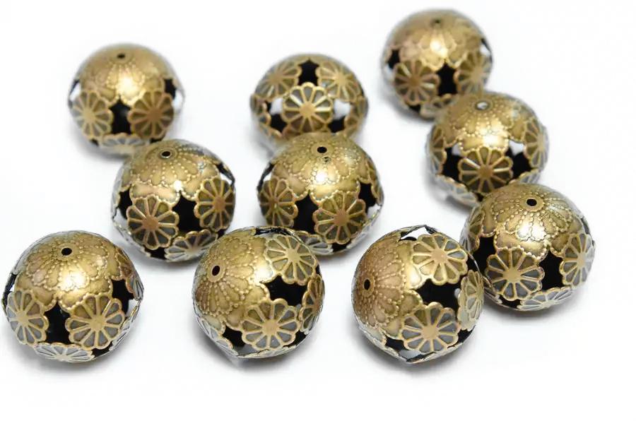 Bakır Rengi Metal Çiçekli Top