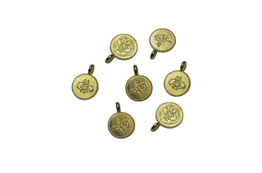 Desenli Sarı Metal Pul Para