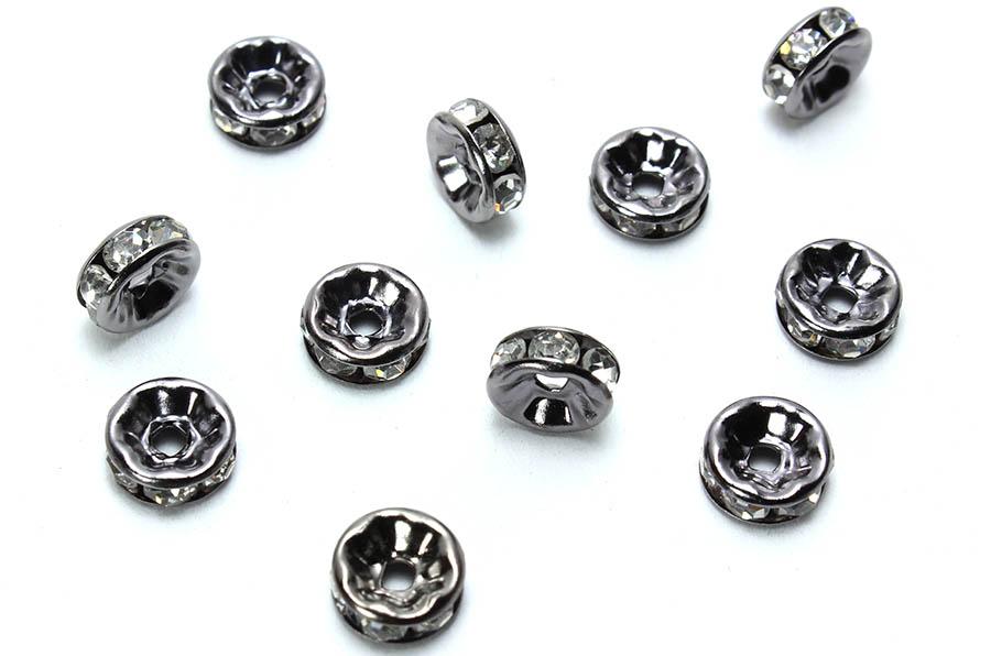 Kristal Taşlı Siyah Metal Rondela - 10 Adet