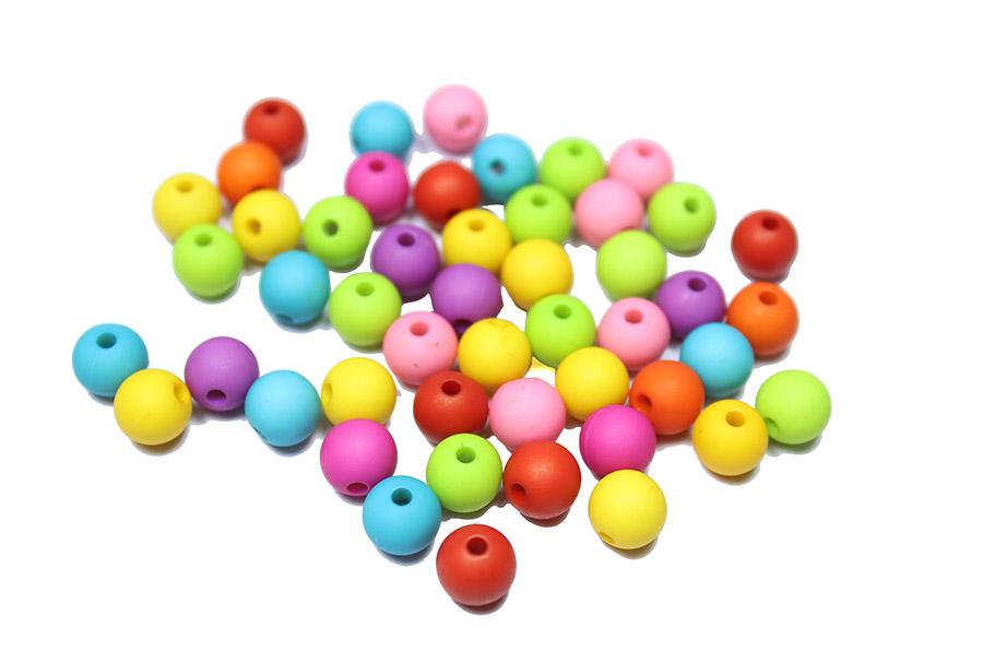 Plastik Renkli Emzik Zinciri Boncuğu - 6mm