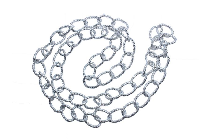 Burgulu Gümüş Rengi Metal Zincir