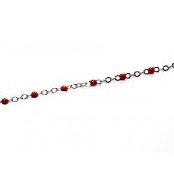 Kırmızı Metal Boncuklu Zincir