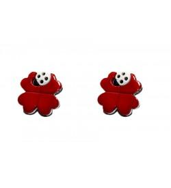 Dekoratif Düğme - Kırmızı Çiçek 5 Adet