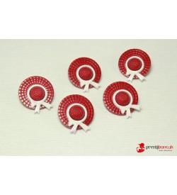 Dekoratif Düğme - Kırmızı Şapka 5 Adet