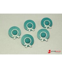 Dekoratif Düğme - Turkuaz Şapka 5 Adet