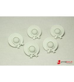 Dekoratif Düğme - Beyaz Şapka 5 Adet