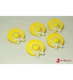 Dekoratif Düğme - Sarı Şapka  5 Adet