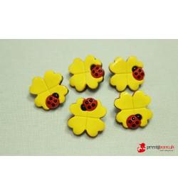 Dekoratif Düğme-Sarı Çiçek 5 Adet
