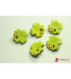 Dekoratif Düğme - Yeşil Çiçek 5 Adet