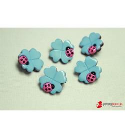 Dekoratif Düğme - Mavi Çiçek 5 Adet