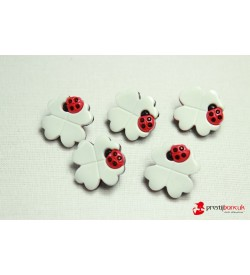 Dekoratif Düğme - Beyaz Çiçek 5 Adet