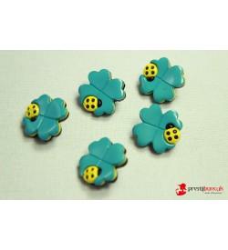 Dekoratif Düğme - Turkuaz Çiçek 5 Adet