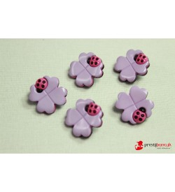 Dekoratif Düğme - Lila Çiçek 5 Adet