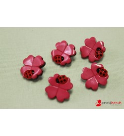 Dekoratif Düğme - Pembe Çiçek 5 Adet