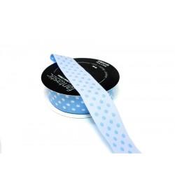 Beyaz Puantiyeli 2.5 cm Mavi Jakarlı Şerit Kurdele - 25750