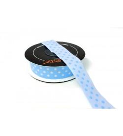 Beyaz Puantiyeli 2 cm Mavi Jakarlı Şerit Kurdele - 20750