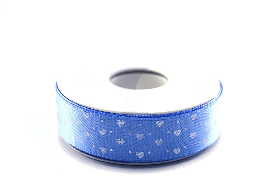 Beyaz Kalp Desenli Mavi Saten Kurdela 2cm