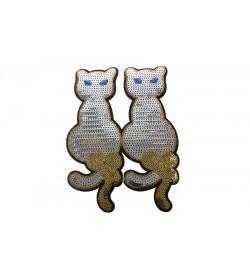Ütüyle Yapışan Gümüş Payetli Kedi Aplik