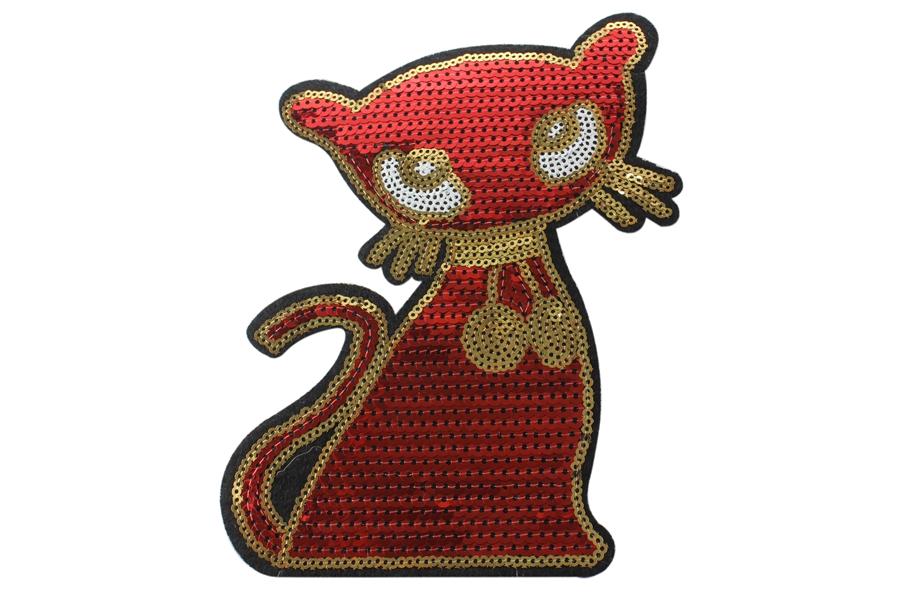 Ütüyle Yapışan Kırmızı Payetli Kedi