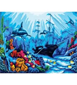 Batık Gemi Ve Yunus Balıkları Goblen Seti