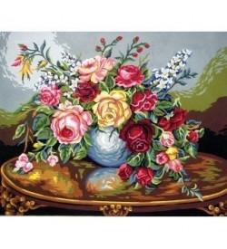 Çiçek Dolu Vazo Goblen Seti